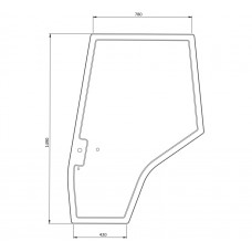 Cab Glass - Curved LH Door - Green Tint
