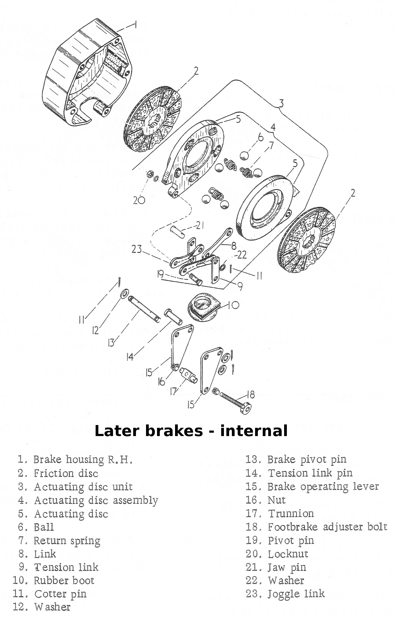 Later brakes - exploded parts diagram